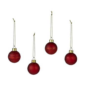 Christmas baubles Set of 4pcs red
