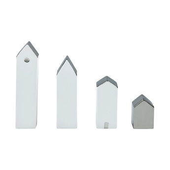 Christmas Village Set of 4pcs silver