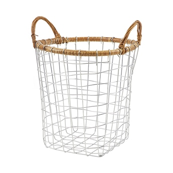 RATTAN TOP WIRE BASKET M